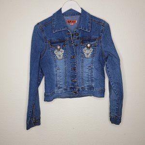 Hip Jeans Embroidered Cropped Denim Jacket